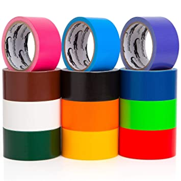 Multi Colored Duct Tape - Variety Pack -12 Colors - 10 yards x 2 inch  rolls  Girls & Boys Kids Craft Duck Set, Fun DIY Art Kit – Rainbow: Black  red