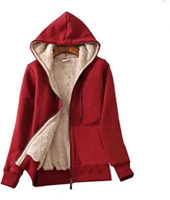 Flygo Women's Casual Winter Warm Thick Sherpa Fleece Lined Zip Up Hooded Sweatshirt Jacket