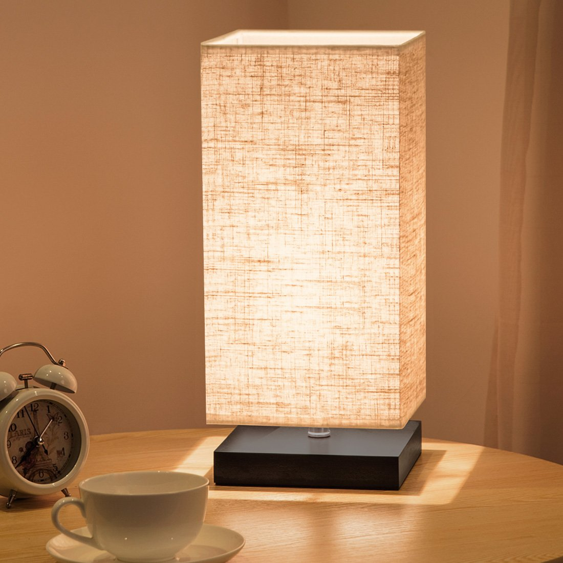 ZEEFO Simple Table Lamp Bedside Desk Lamp With Fabric Shade and Solid Wood for Bedroom, Dresser, Living Room, Baby Room, College Dorm, Coffee Table, Bookcase (square) by ZEEFO (Image #6)