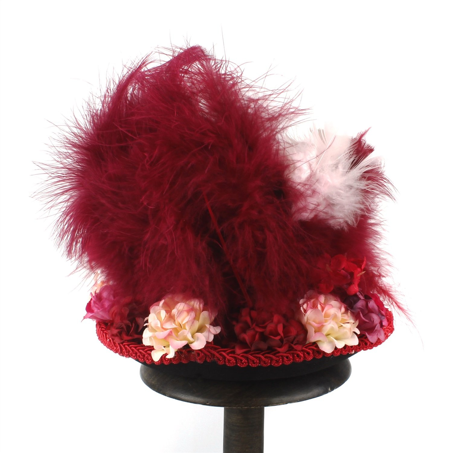 LL Women;s Red Mini Top Hat, Antique Red and Ivory Tea Cup Hat Mad Hatter Hat, Tea Hat,Mad Hatter Tea Party (Color : Red, Size : 25-30cm) by LL (Image #6)