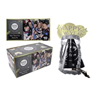 New Year Eve Celebrations, Elegant Black, Gold and Silver New Year's Party Kit for 10 - New Year Party Supply with 30 Pieces Include 5 Top Hats, 5 Tiaras 5 Blowing Horns, 5 Squawkers and 10 Necklaces