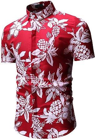 W&TT Hombres Manga Corta Hawaiana Playera Floral Estampado Casual botón de Abajo Camisas,Red,L: Amazon.es: Hogar