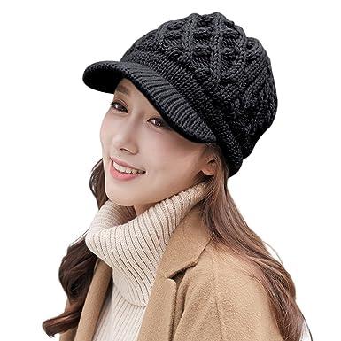 b953f79fb0819b 677888 Ladies Winter Hats Warm Knit Cap Handmade Woven Earmuffs Hat (Black,Small)