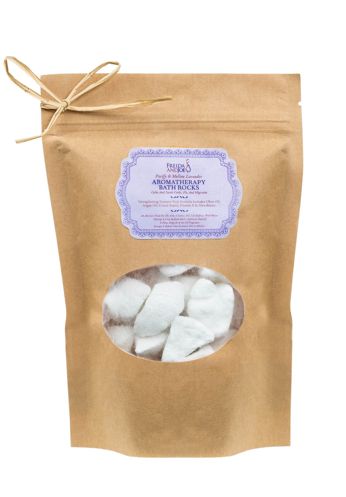 Freida and Joe Relaxing Aromatherapy Bath Rocks with Argan Oil, Olive Oil, Cocoa Butter, Shea Butter and Vitamin E, in Lavender Scent Perfect for Women, 250 Grams of Bath Bombs in a Spa Gift Bag