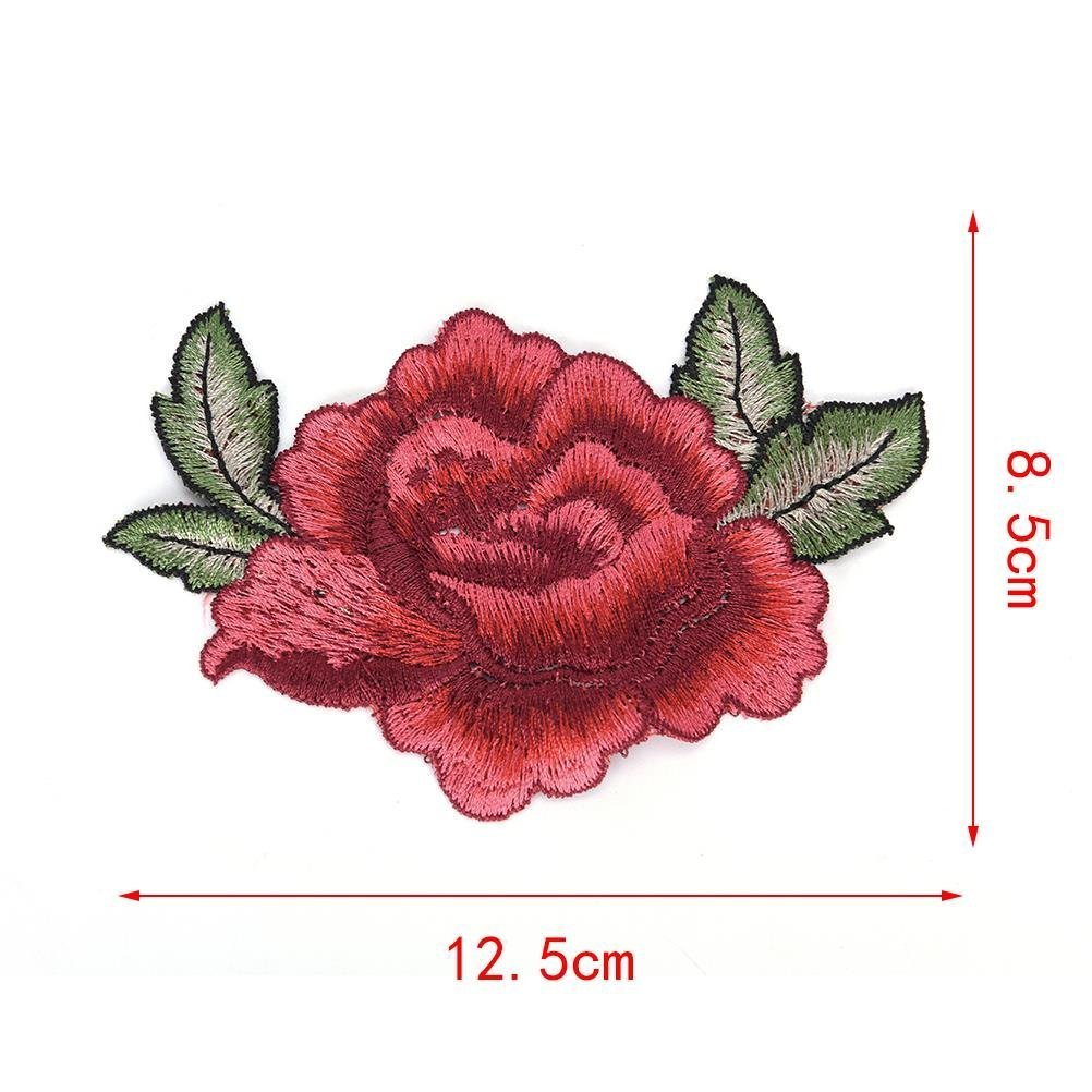 0737388cb535 Amazon.com  2pcs Beautiful 3D Rose Peony Flower Patch Embroidered Garment Appliques  Sew on Patches Clothes Cheongsam Wedding Dress Accessory 5.1