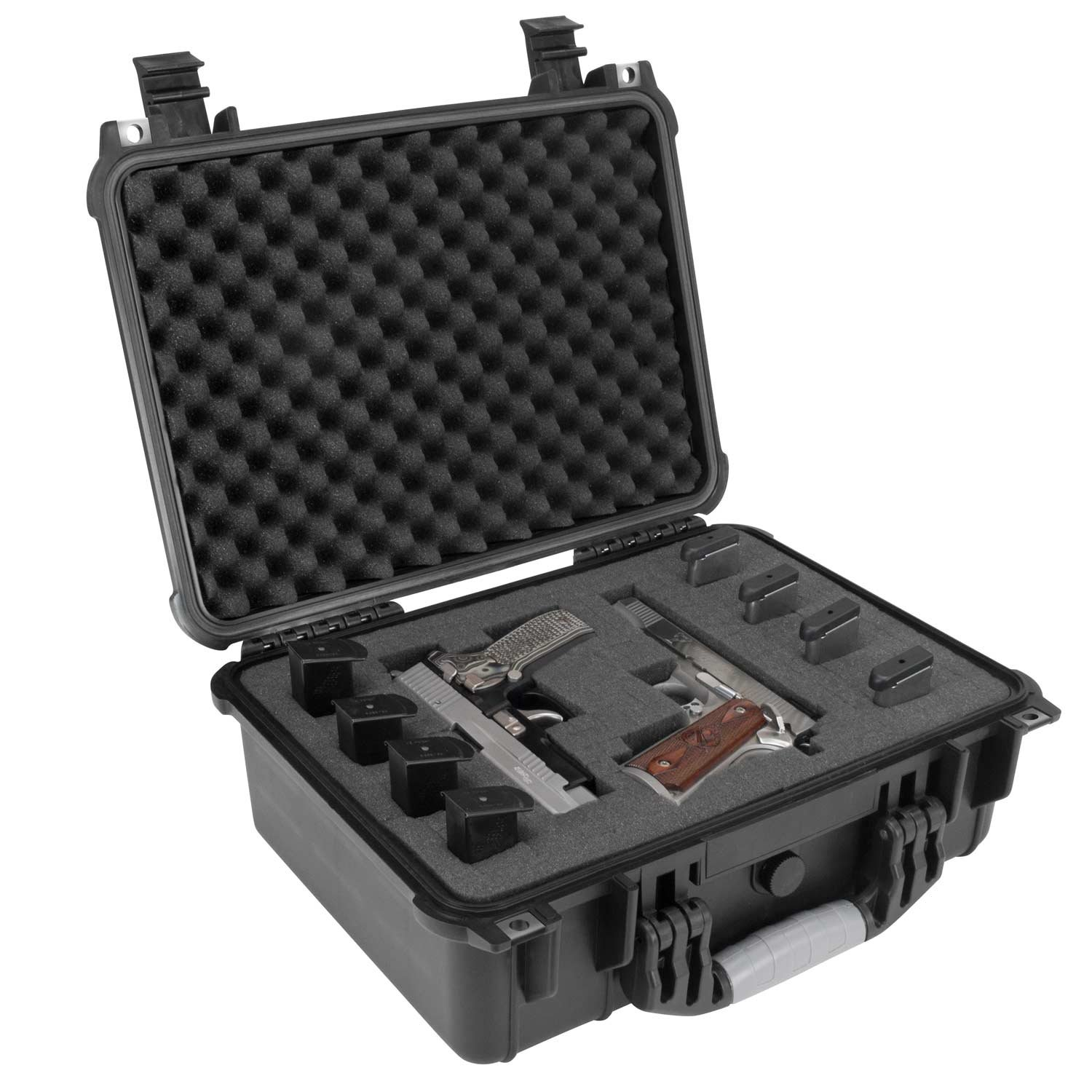 Elkton Outdoors Hard Gun Case: Fully Customizable Pistol Case: Holds 4 Handguns and 8 Magazines: Crush Resistant & Waterproof! by Elkton Outdoors (Image #4)