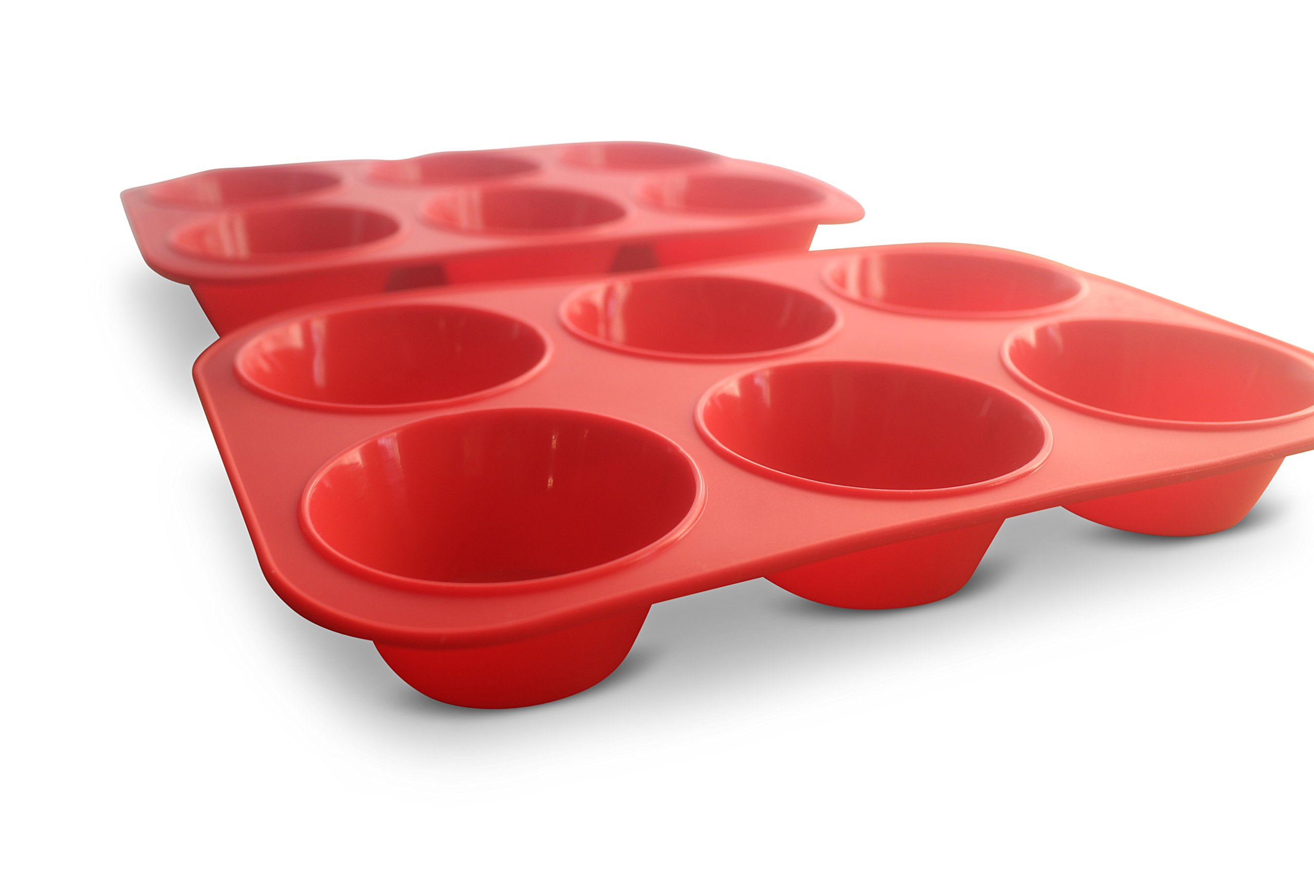 XXL Jumbo Silicone Muffin Pan - 3.5'' Texas Sized Commercial Muffin Pan Set of 2 (2, Red)