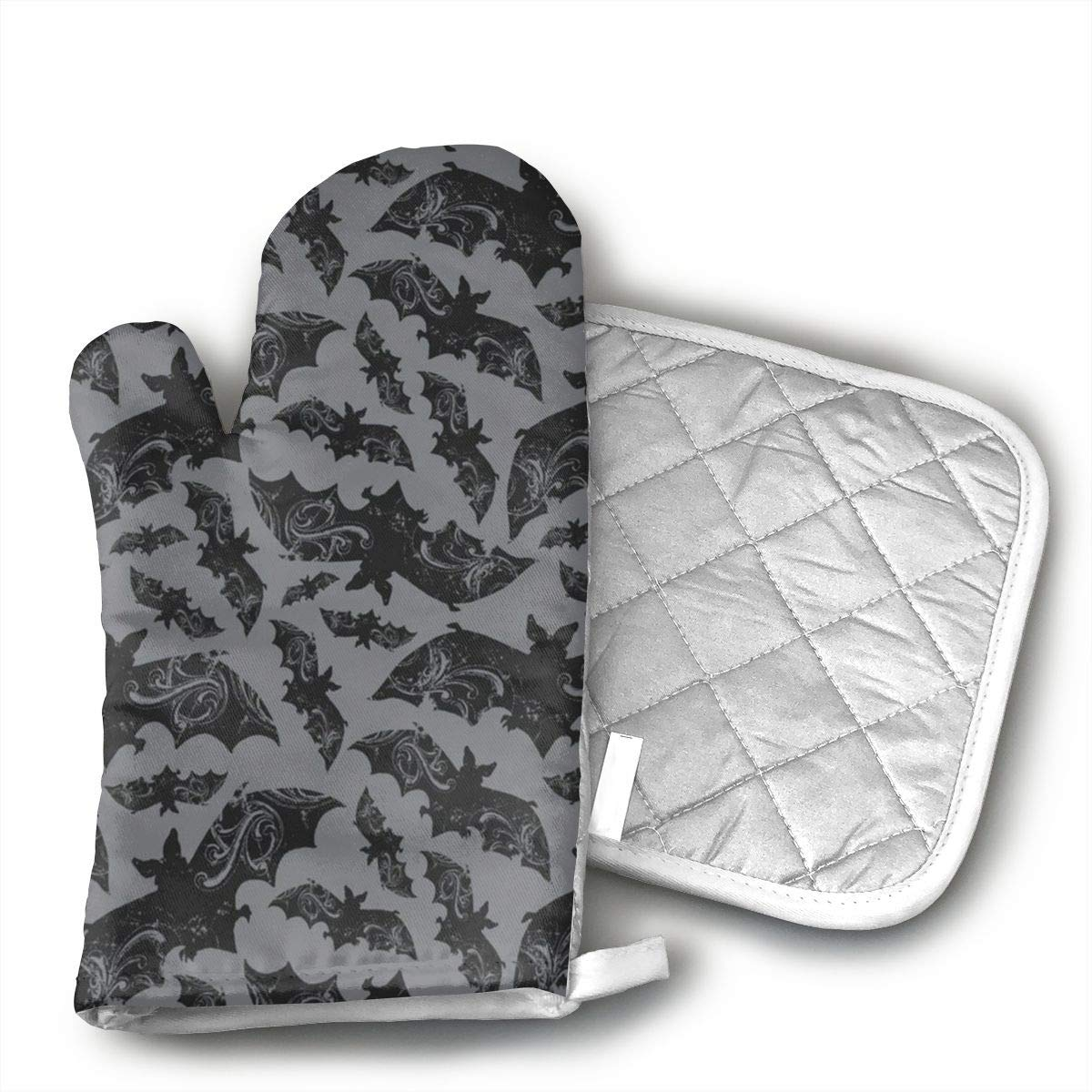 TUJABZA71 Halloween Bats Oven Mitts,Professional Heat Resistant Microwave Oven Insulation Thickening Gloves Soft Inner Lining Kitchen Cooking Mittens
