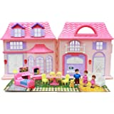 Boley Pretend Play Doll House Toy - 21 Piece Collapsible Dollhouse, a Perfect Children's Toy with Kitchen Accessories, Light and Sound, Wallpaper, and More!