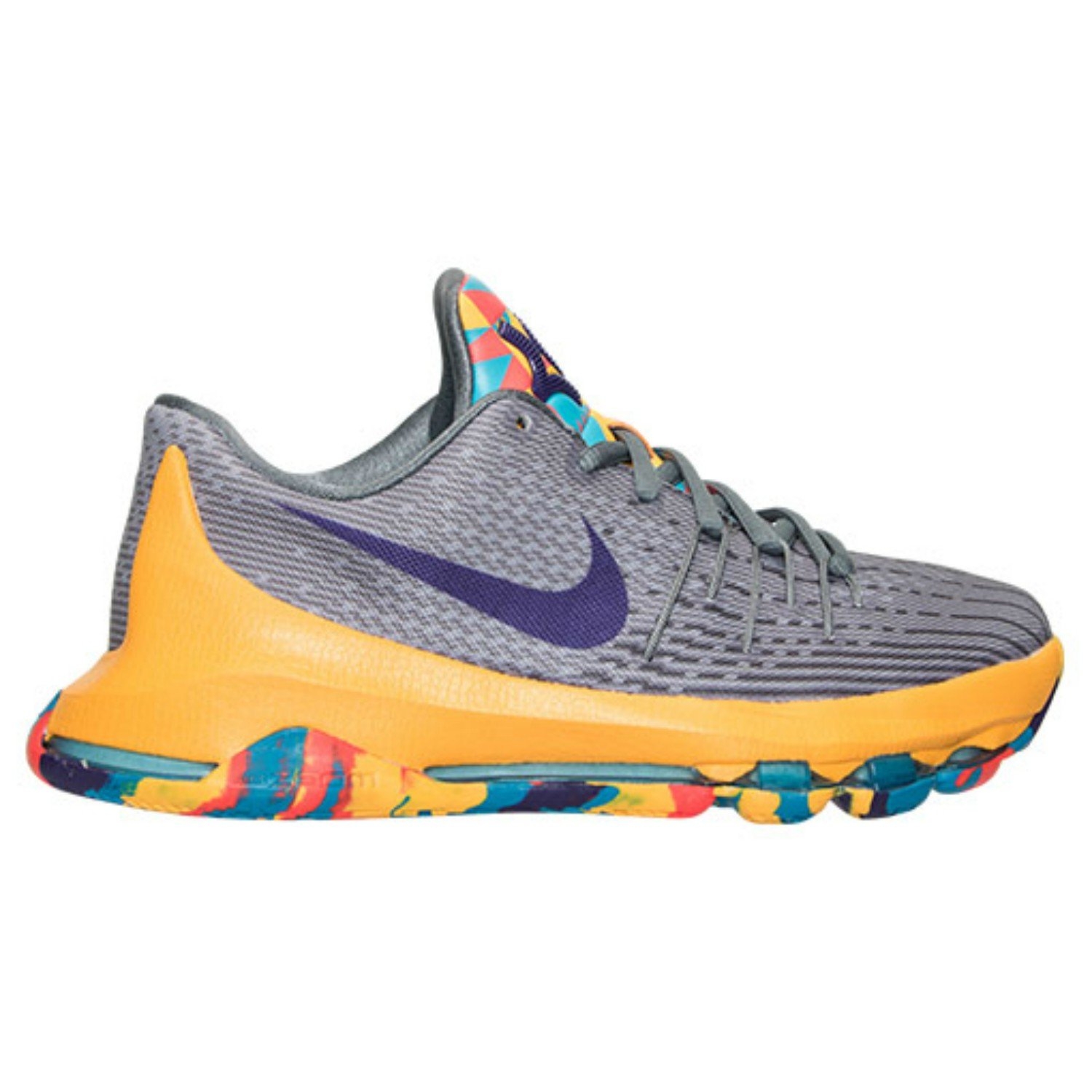new arrival ec5dc 61f58 Nike KD 8 (GS) Grey/Yellow Kevin Durant Basketball Unisex Youth Size 4.5