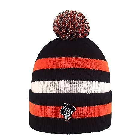 Amazon.com   Oklahoma State University Knit Striped Pom Pom Beanie ... 29ca9670008