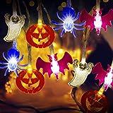 Tcamp 20 LED Halloween String Lights Halloween Decorations Lights Halloween Pumpkin Bat Ghost Spider Lights, Battery…