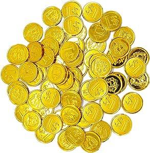 Hellery 100 PCS de Monedas Doradas de Plástico de Pirata / Tesoros ...