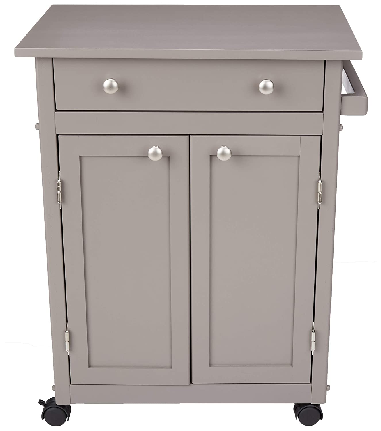 AmazonBasics Classic Solid Rubber Wood Kitchen Cart with Cabinet Rustic Grey