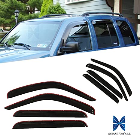 Ruiang Voyage Fit 02 07 Jeep Liberty 4pcs Front Rear Smoke Sun Rain Guard Vent Shade Window Visors