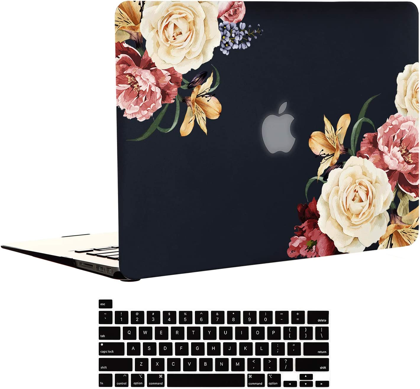 EkuaBot Black Peony MacBook Air 13 inch Case & Keyboard Cover (A1369/A1466, Older Version 2010-2017 Release), Rubber Coated Soft Touch Hard Case Only Compatible MacBook Air 13.3