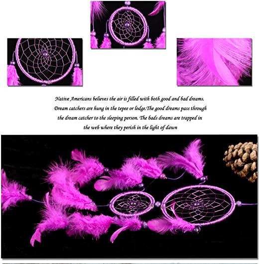 Double Ring Purple Feather Dream Catcher Wall Hanging Home Car Decor Craft