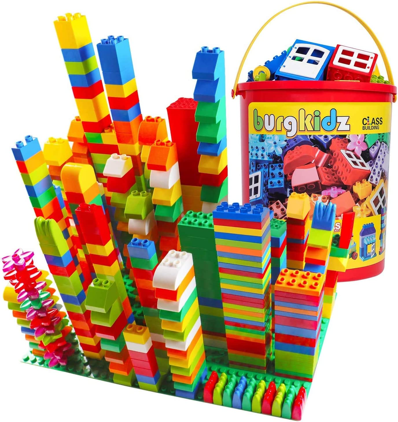 burgkidz Juegos de Bloques de Construcción, 214 Piezas de Juguetes Educativos para Niños Pequeños Ladrillos Creativos, 13 Formas Divertidas y Ladrillos de Plástico a Granel para Todas Las Edades