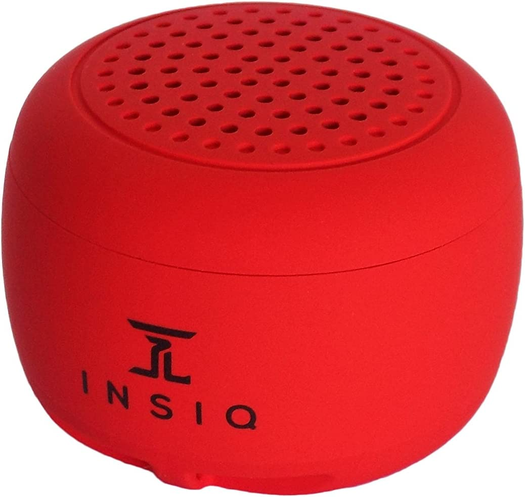 World's Smallest Portable Bluetooth Speaker - Great Audio Quality for its Size - 30+ Feet Range - Photo Selfie Button Answer Phone Calls Compact Compatible with Latest Phone Software (Red)