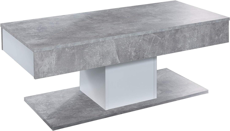 Perfect Trendteam Smart Living Woonkamer salontafel woonkamertafel universeel, 110 x 42 x 50 cm beton steen afgezet wit met veel opbergruimte wit unk5XT9