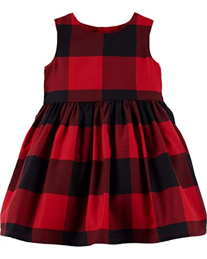 9403a04fe1f7 Amazon.com: Carter's Baby Girls Red Buffalo Check Holiday Dress ...