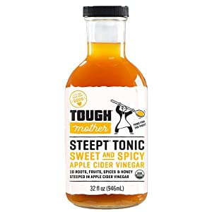 Tough Mother Steept Apple Cider Vinegar Shots with the Mother - Organic Formula helps with bloating relief   Sweet and Spicy - 32 fl oz