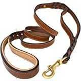 Braided Leather Dog Leash with Traffic Handle