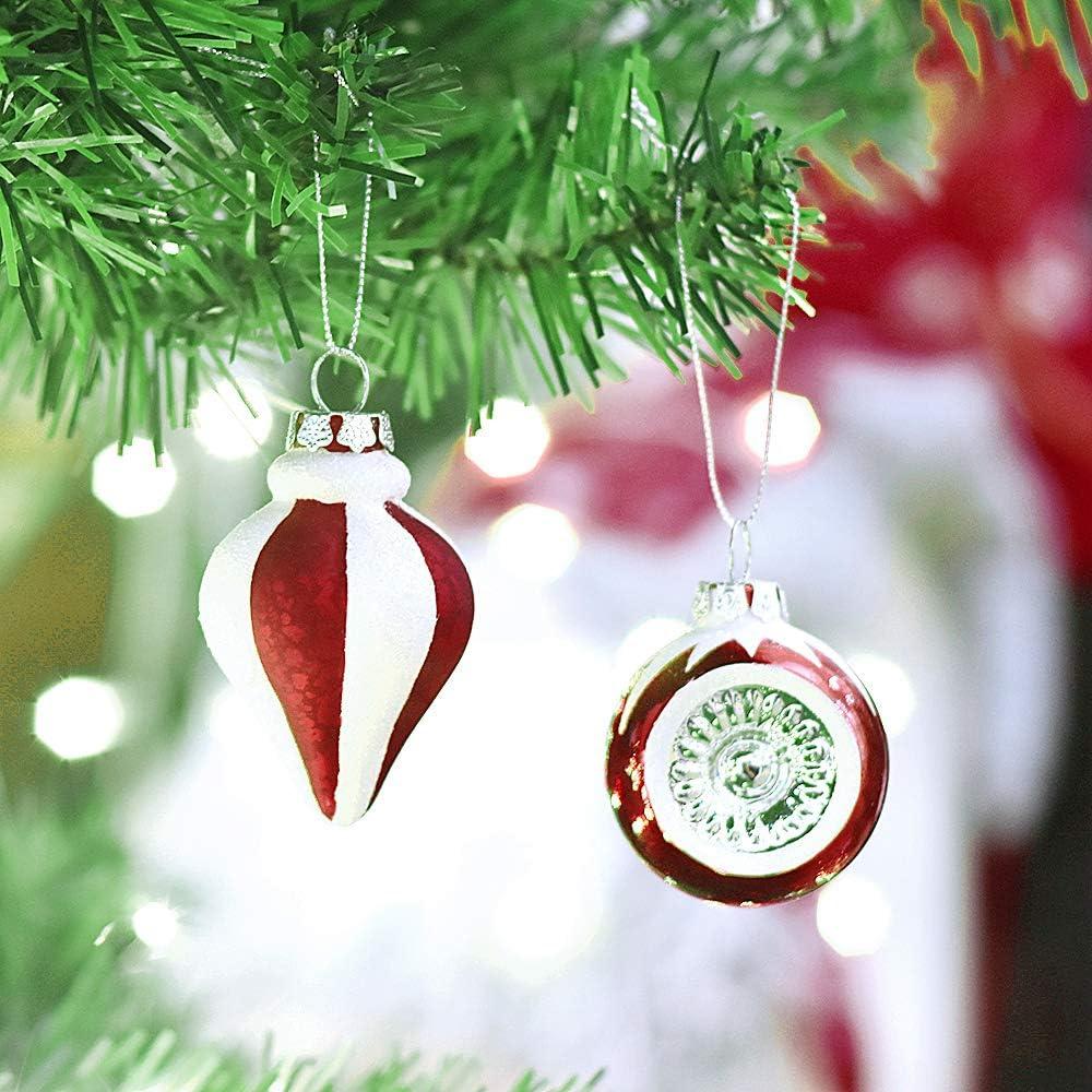 Valery Madelyn Christmas Baubles Set 5CM 6 Pezzi Tradizionali Rosso Bianco Temi Lucido Scintillante glassato di Vetro Ornamento di Natale con Gancio Ornamenti per LAlbero di Natale Decorazione