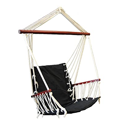 OMNI Patio Swing Seat Hanging Hammock Cotton Rope Chair With Cushion Seat (Black) : Garden & Outdoor