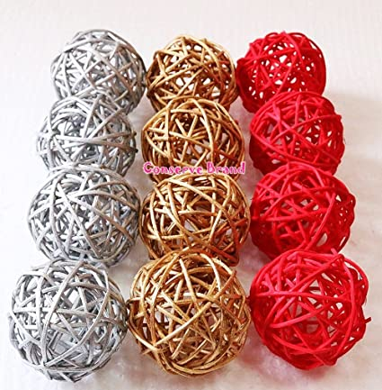 Amazon.com: Christmas Gifts : Small Silver, Gold, Red Rattan Ball ...