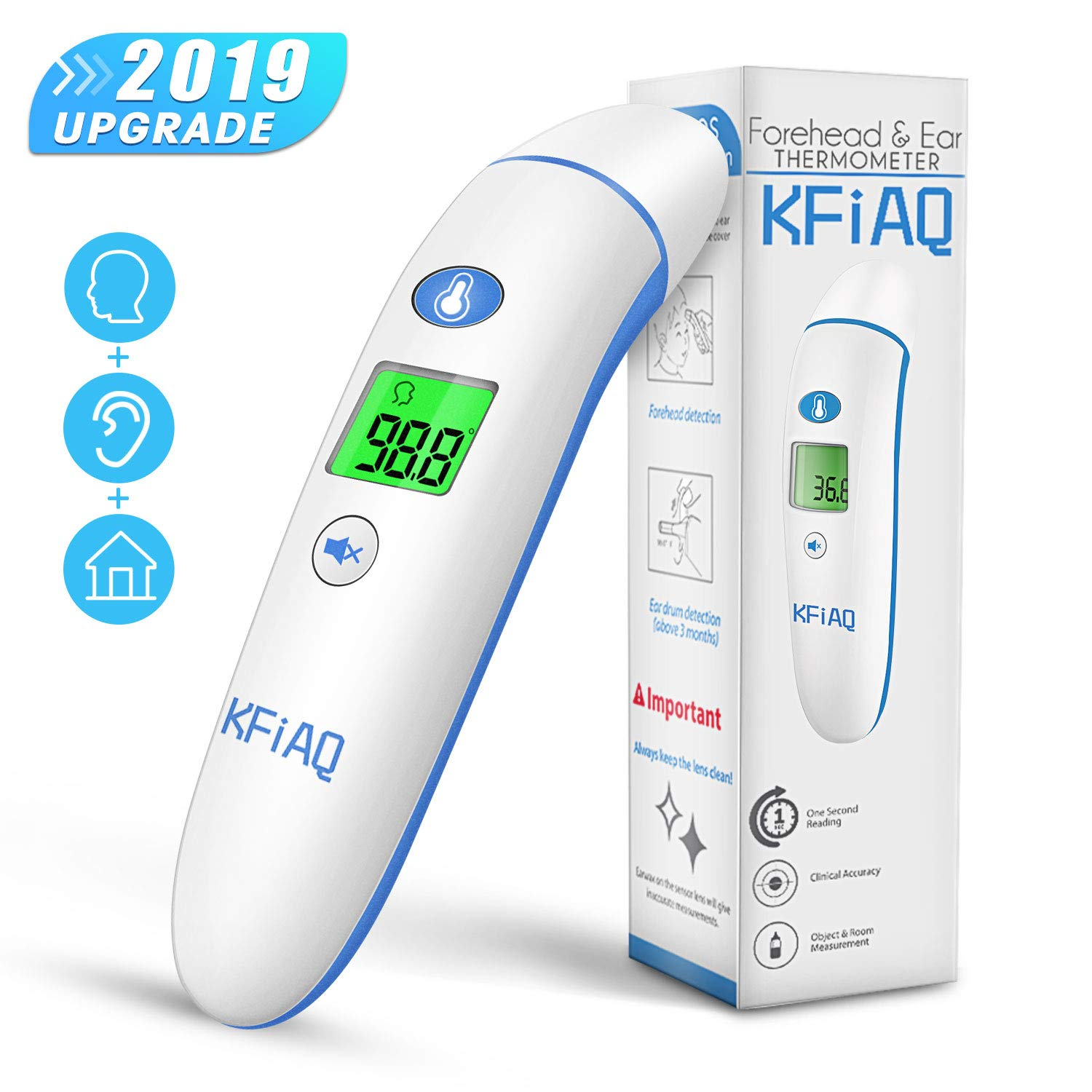 Upgraded Baby Thermometer Forehead and Ear Thermometer, Medical Temporal Thermometer for Fever, Digital Infrared Temperature Thermometer for Baby Kids Adults by AERZETIX