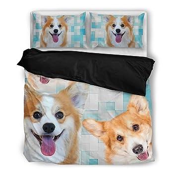 Pembroke Welsh Corgi - Juego de cama, diseño de perro los amantes regalos personalizados cubierta diseño de impresión fundas de almohada y edredón manta ...