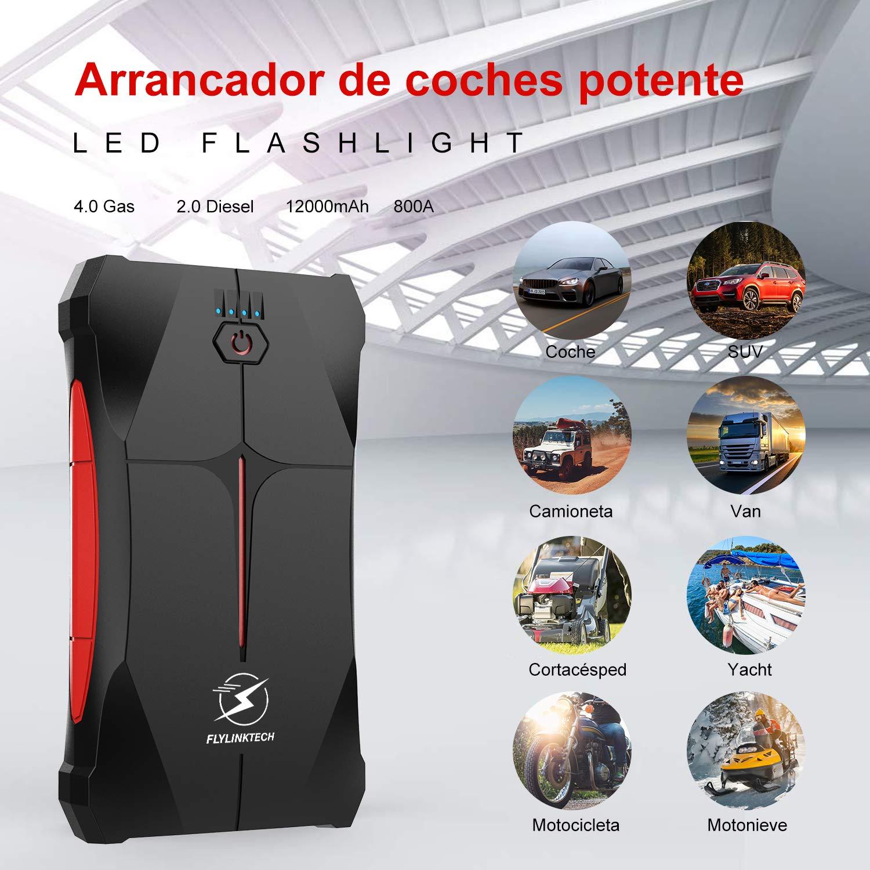FLYLINKTECH Arrancador de Coches, 800A 12000mAh Arrancador Batería Coche (hasta 4.0L Gas o 2.0L Diesel) de IP67 Impermeable Batería Arrancador de ...