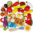 32Pieces Pretend Magnetic Play Food Set Painted Wooden Cutting Fruits/Vegetables kitchen Learning Food Prep Kit for Toddlers pretend play kitchen