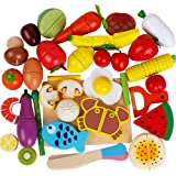 32Pieces Pretend And Play Food Set Painted Wooden Magnetic fruit Cutting Fruits/Vegetables kitchen toys Learning Food Prep Kit for Toddlers pretend play kitchen