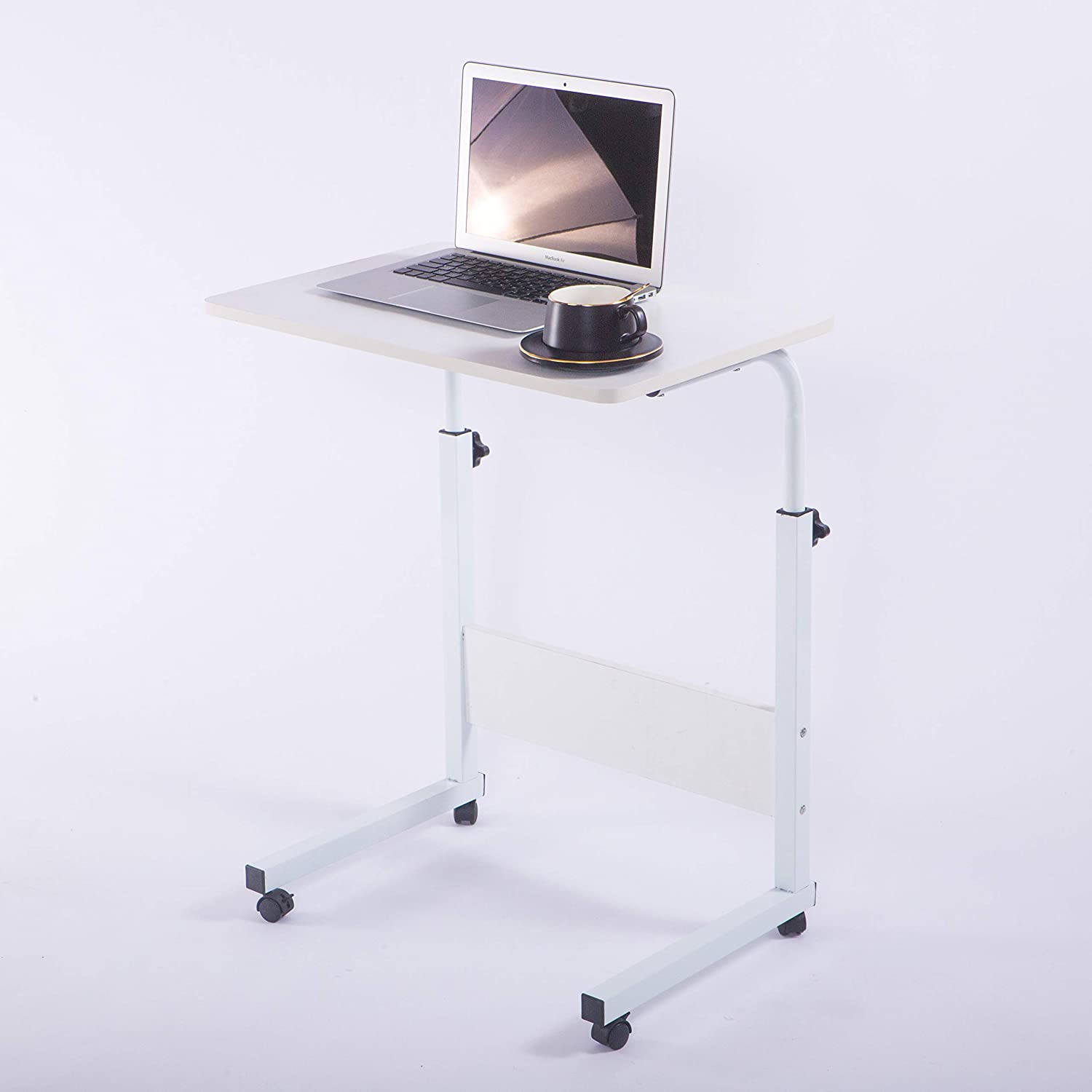 "Laptop Cart 23.6"" Mobile Table Fancasa Movable Portable Adjustable Notebook Computer Stand with Wheels (White)"