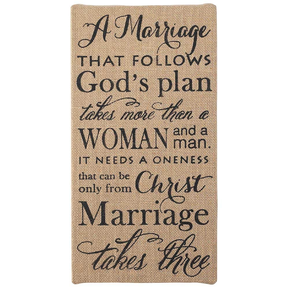 Marriage Takes Three Christian 18 x 9 Jute Burlap Wood Wall Art Sign Plaque