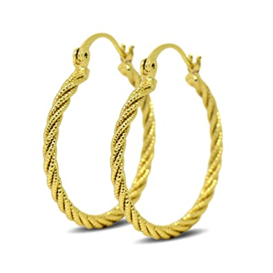 Blue Diamond Club - 9ct Gold Filled Womens Creole Twisted Hoop Earrings 9K 30mm jzhfrlbL8
