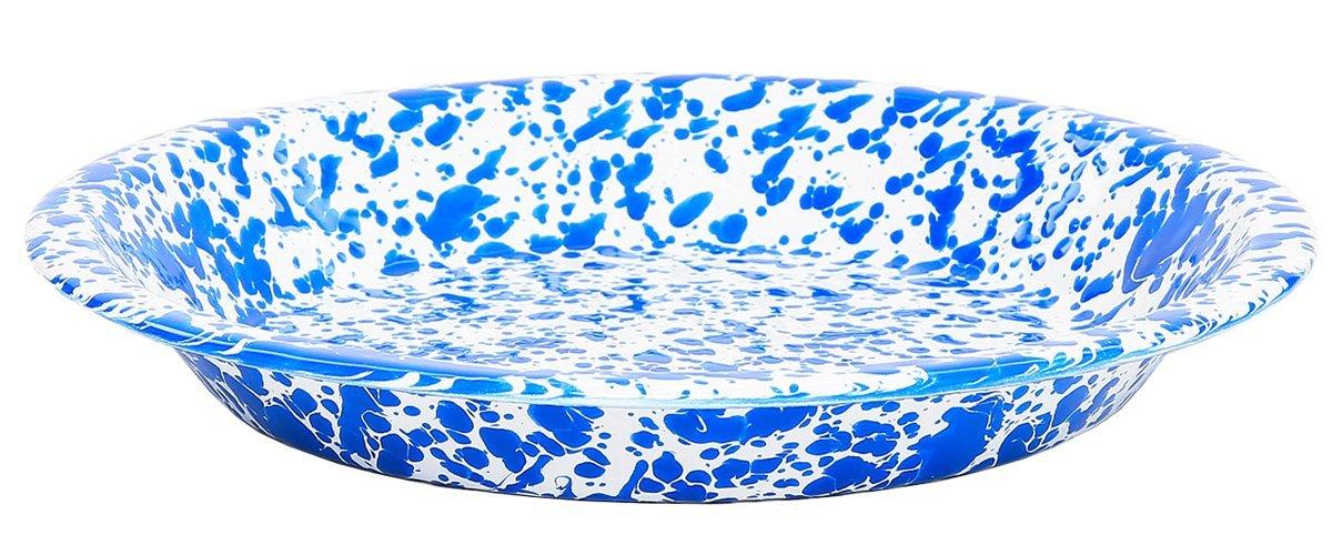 Enamelware Pie Plate, 9 inch, Blue/White Splatter