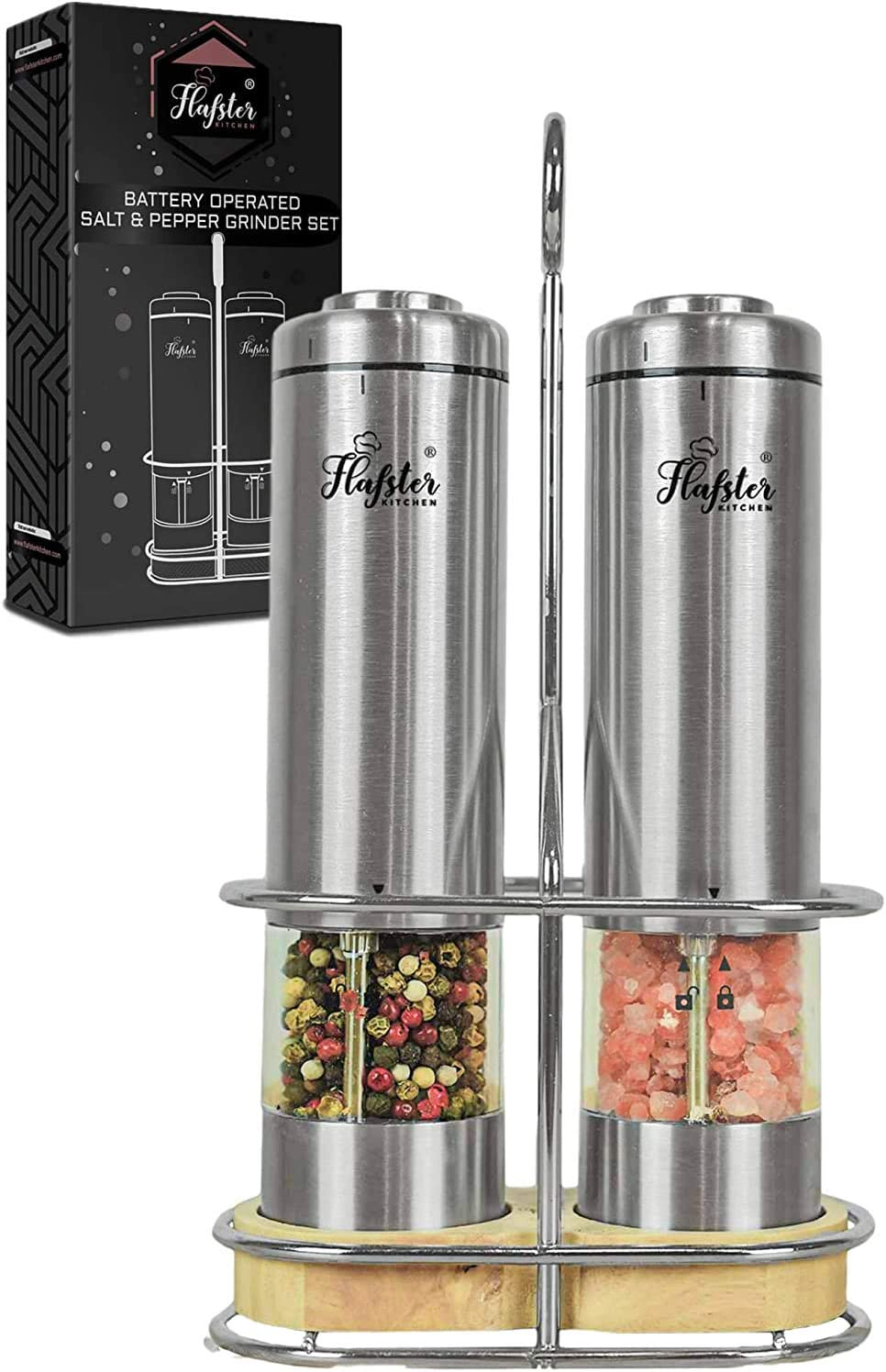 Electric Salt And Pepper Grinder Set Battery Operated Stainless Steel Salt Pepper Mills 2 By Flafster Kitchen Tall Power Shakers With Stand Ceramic Grinders With Lights And Adjustable Coarseness Kitchen