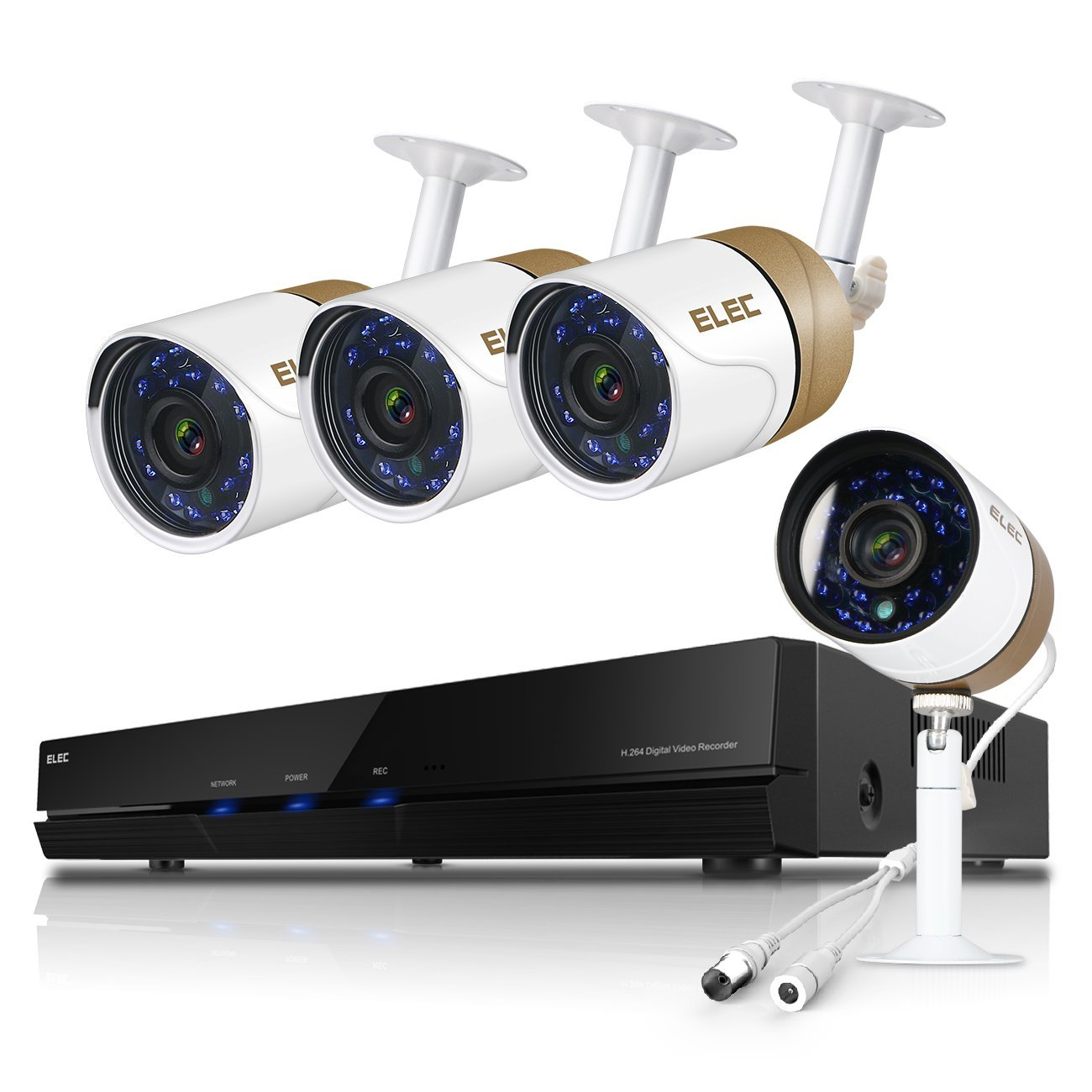ELEC 8-Channel 1080N CCTV Security Camera System,720P AHD DVR Recorder with (4) 2000TVL Indoor/Outdoor Weatherproof Surveillance Cameras,No Hard Drive