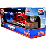 "Thomas and Friends Trackmaster Motorized Railway Battery Powered Tank Engine 2 Pack Train Set - RHENEAS the ""Gallant Old Engine"" with Blue Caboose"