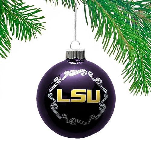 NCAA Candy Cane Traditional Glass Ball Christmas Ornament- 2 5/8