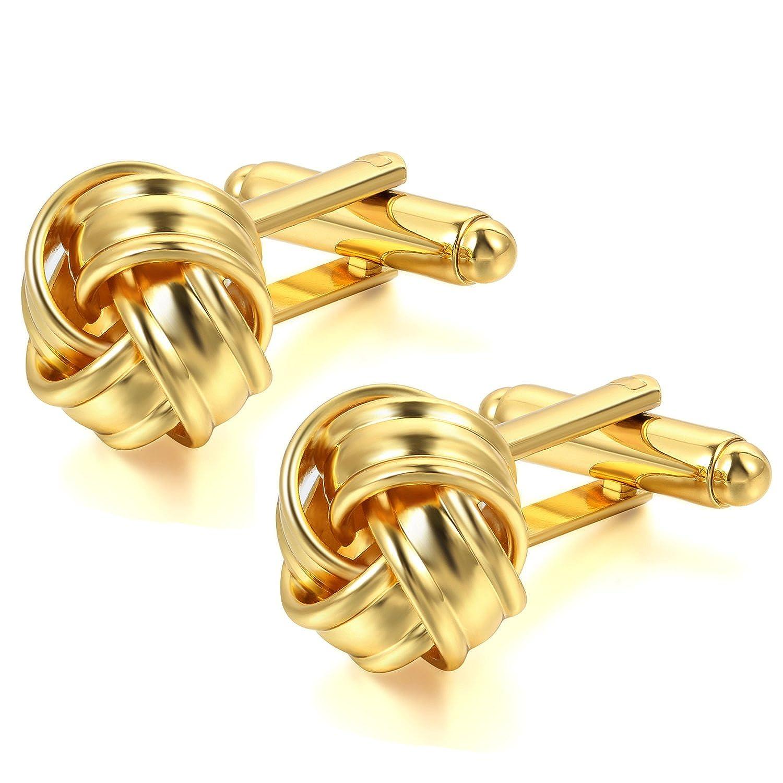 JewelryWe 2pcs Boutons De Manchette Amour Nœud Chemise Mariage Business Fantaisie pour Homme Cuivre Couleur Optionnel J055038