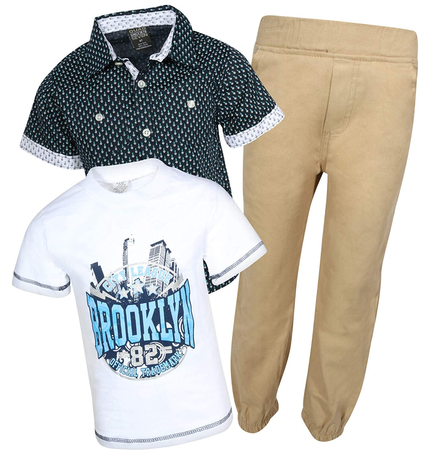 Quad Seven Little Boys 3-Piece Pant Set with Woven Shirt and Tee
