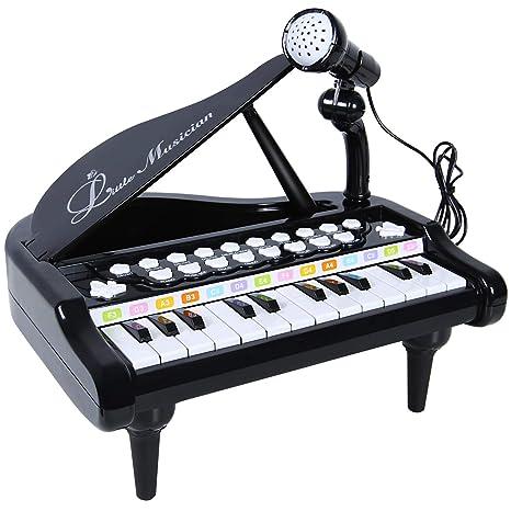 SGILE Juguete para Teclado de Piano con micrófono, 24 Teclas Musical Aprender a Tocar Piano