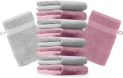 Betz Paquete de 10 Manoplas de baño Premium 100% algodón 16x21cm de Color Rosa y Gris Plata: Amazon.es: Hogar