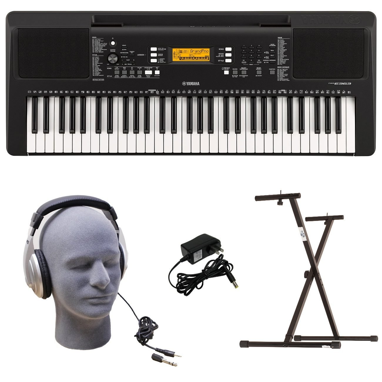 Yamaha PSR-E363 PKS 61-Key Premium Keyboard Pack with Stand, Headphones & Power Supply Yamaha PAC