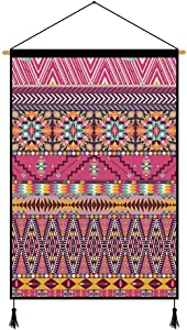 XM&LZ Bohemian Wall Hanging Tapestry,Colorful Pattern Hanging Poster with Tassel,Cotton Linen Wall Art for Living Room,Home Decor Scroll H 45x65cm(18x26inch)