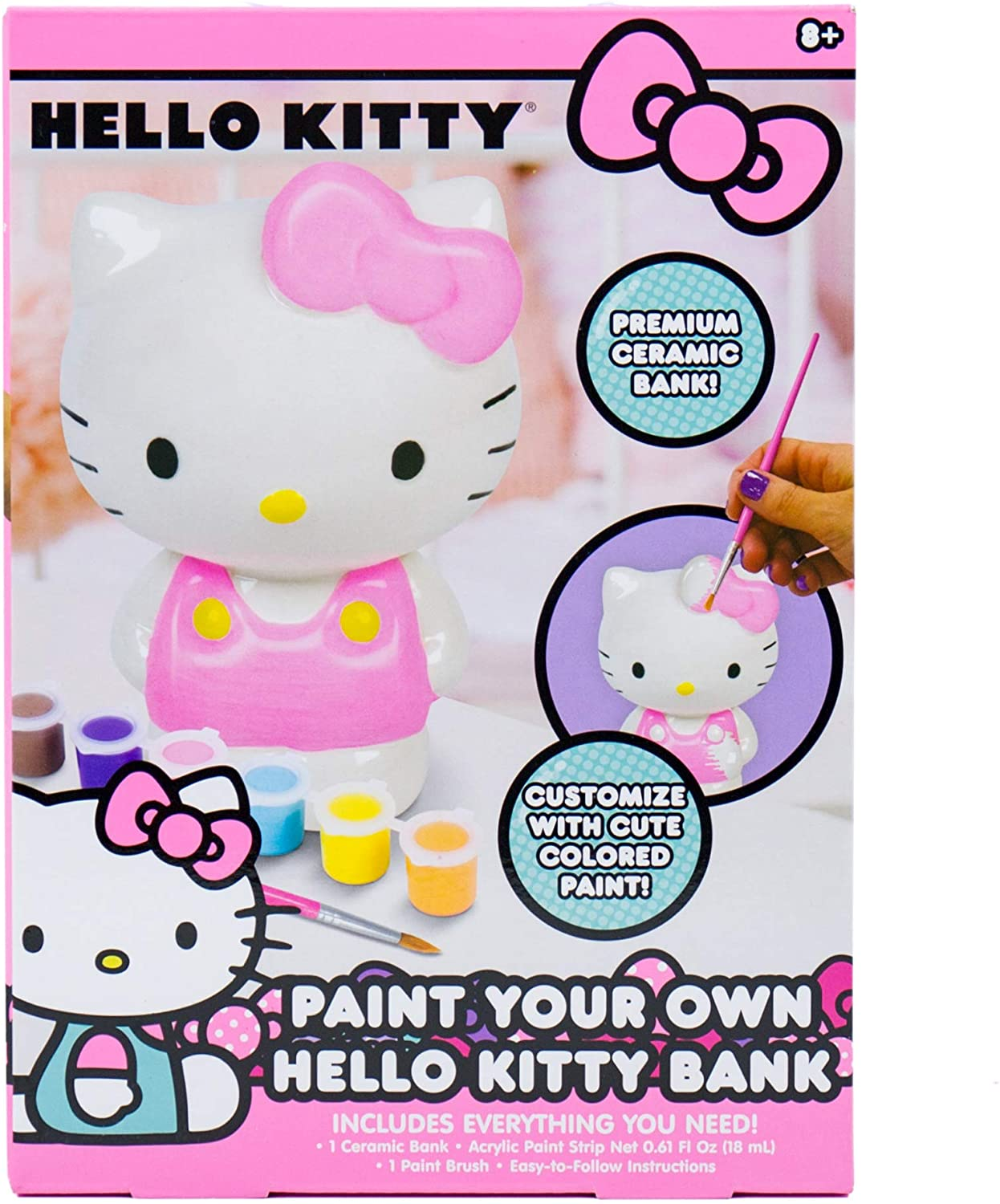 Hello Kitty Paint Your Own Piggy Bank, DIY Coin Bank for Kids by Horizon Group USA, Multicolor